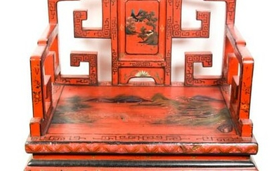 Antique Chinese Carved Lacquer Thrown Chair