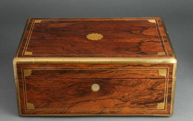 Antique English Document Box with Brass Inlay