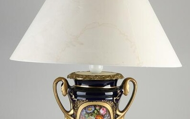 Antique hand-painted French porcelain table lamp.&#160