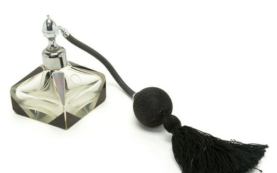 Art Deco Bohemian Glass Perfume Atomizer with Mount by