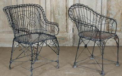 Associated Pair of Antique Wirework Chairs