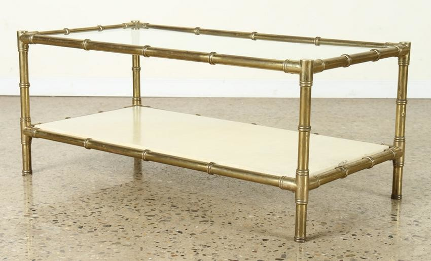 BAMBOO STYLE BRASS COFFEE TABLE PARCHMENT SHELF