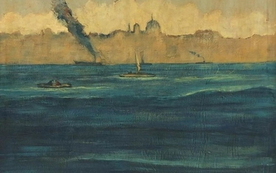 Boats in water before city, impressionist oil on