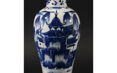 CHINESE BLUE AND WHITE VASE, 19th century, painted with two ...