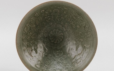 """CHINESE CARVED CELADON PORCELAIN CONICAL BOWL Decoration of children and flowers. Diameter 7.4""""."""