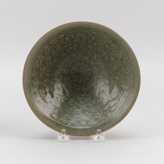 "CHINESE CARVED CELADON PORCELAIN CONICAL BOWL Decoration of children and flowers. Diameter 7.4""."