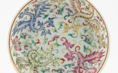 CHINESE FAMILLE ROSE PORCELAIN SHALLOW BOWL