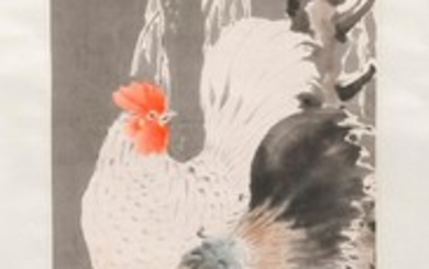 "CHINESE SCROLL PAINTING ON PAPER Depicting two roosters in a snowy landscape. Signed and seal marked upper left. 48"" x 12""."