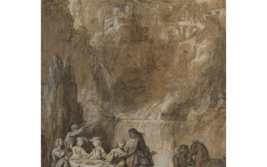 CIRCLE OF NICHOLAS LANCRET (FRENCH 1690 - 1743) ELEGANT FIGURES DINING BEFORE A WATERFALL
