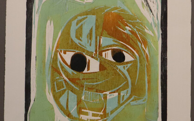COBAN, ISMAIL. Abstract portrait, 1975, color woodcut.