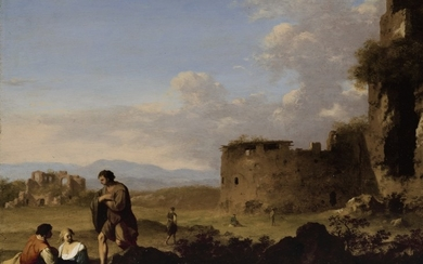 CORNELIS VAN POELENBURCH | LANDSCAPE WITH ANCIENT RUINS AND SHEPHERDS LOUNGING IN THE FOREGROUND