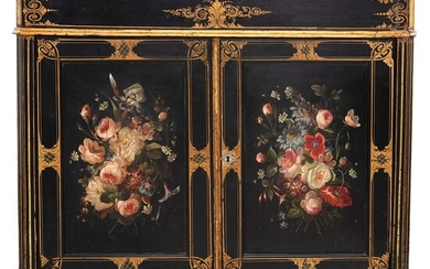 Cabinet, Late 19th century, With lacquered and polychrome marble and wood top, golden details.