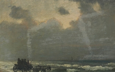Carl Locher: Scenery with horsedrawn carriage. Signed C.L. Oil on canvas. 15.5×20 cm.