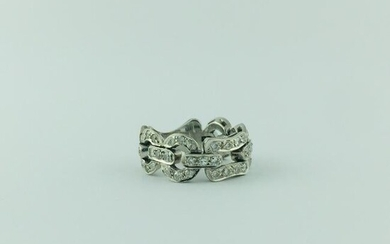 Cartier ring in 18 K white gold with 48 small diamonds