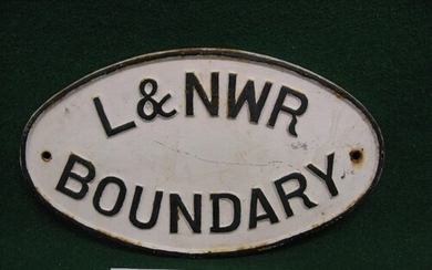 Cast iron oval plate with L&NWR Boundary in raised black let...