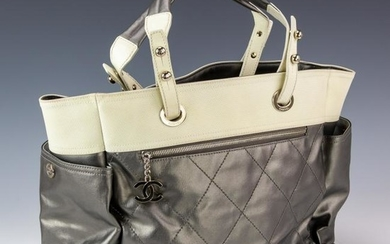 Chanel Grey Canvas Leather Biarritz XL Tote Bag