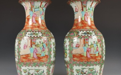 China, pair of Canton famille pink vases, 19th...