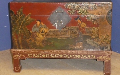 Chinese hand painted chest on stand 51H x 68L x 46d cm overa...