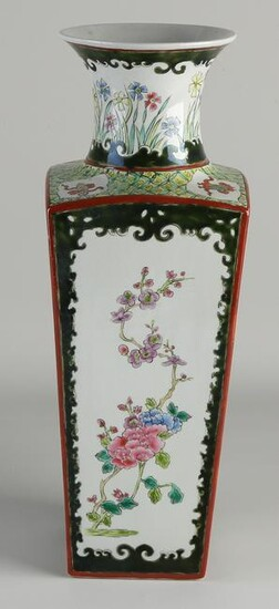 Chinese square porcelain Family Rose vase with floral