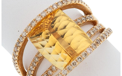 Citrine, Diamond, Gold Ring The ring features a cushion-shaped...