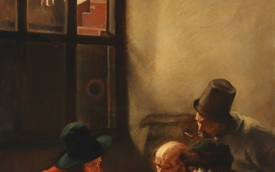 Claus Meyer, copy after, 20th century: Taproom with men playing dice. Unsigned. Oil on cardboard. 96×73 cm.