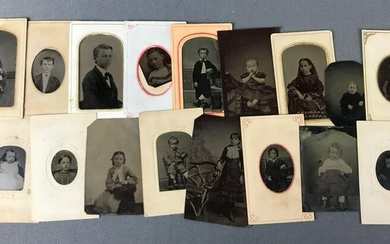 Collection of Antique Studio Tintypes : Young Children