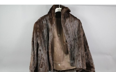Collection of vintage fur coats, including a dark brown stoa...