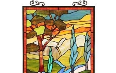 Colorful Landscape Stained Glass Hanging Panel