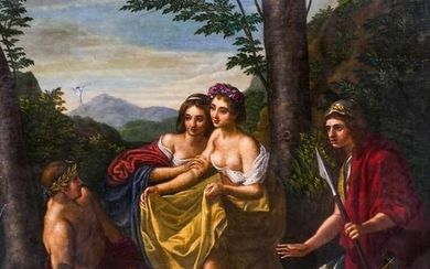 Continental School 18th Cent. Courting Scene Large Oil