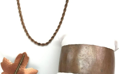 Copper Jewelry Collection - Necklace, Cuff, and Brooch