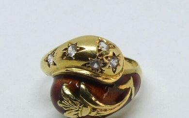 Crossed ring in partially enamelled yellow gold with white stone highlights. Gross weight 7,6 g. With control charge