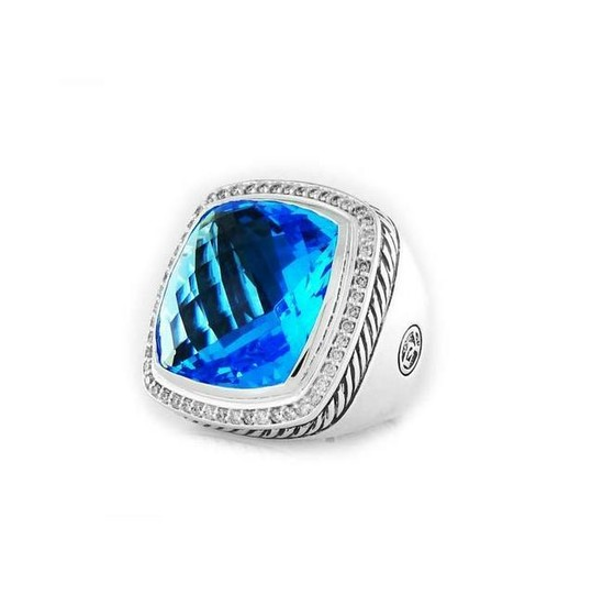 DAVID YURMAN ALBION RING BLUE TOPAZ & DIAMONDS 20MM