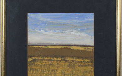 David Humphreys - 'Windy Day, Somerset', acrylic on board, signed in pencil recto, inscribed, titled