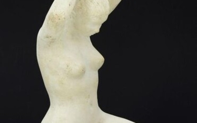 """David MESLY (1918-2004), sculptor - """"Naked woman redoing her hair"""", studio plaster, family provenance. H 25 cm. Michel Robert was born in Paris on April 22, 1918, son of Eloi Robert (sculptor, 1881-1949). It was only in the 1990s that he became known..."""