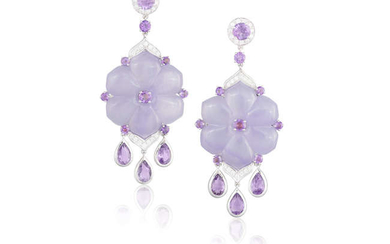 Description A PAIR OF LAVENDER JADEITE, AMETHYST AND DIAMOND...