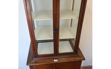 Early 20th C mahogany display cabinet, glazed all round with...