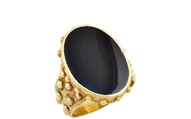 Ed Wiener Gentleman's Modernist Gold and Black Onyx Ring