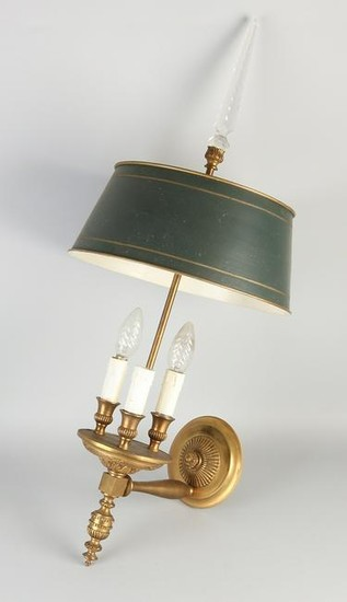 Empire style brass wall lamp three light copper painted
