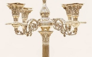 English Classical Column Sterling Candelabra