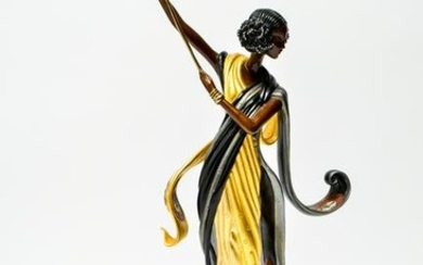Erte Arabian Nights Cold Painted Bronze Sculpture
