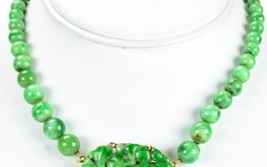 Estate 14kt Yellow Gold & Jade Chinese Necklace