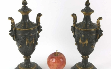 FRENCH FINE ANTIQUE BRONZE TWIN HANDLED URNS