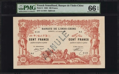 FRENCH SOMALILAND. Banque de L'Indo-Chine. 100 Francs, 1920. P-5. PMG Gem Uncirculated 66 EPQ.