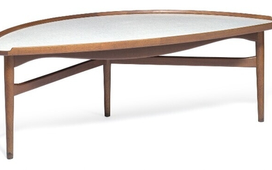 "Finn Juhl: ""Cocktail table"". A walnut coffee table with three legs. Kidney shaped top with raised edges and grey melange Formica top."