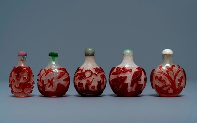 Five Chinese red overlay snowflake glass snuff bottles,...