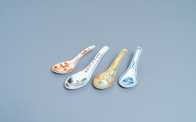 Four various Chinese spoons, 19/20th C.