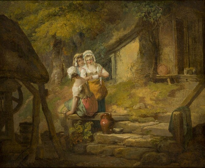 Francis Wheatley RA, British 1747-1801- Three Country Girls by a...