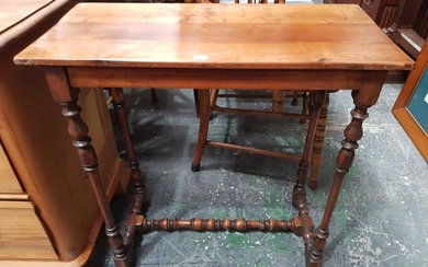 French Cherrywood Small Occasional Table, with slide & on turned legs with stretchers