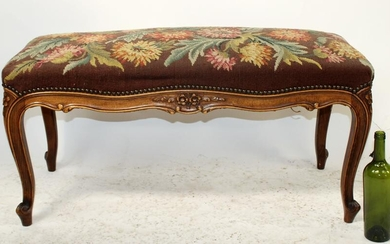 French Louis XV carved walnut bench with needlepoint