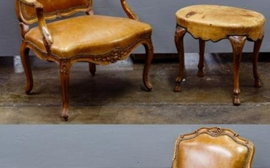 French Provincial Style Leather Chair and Ottoman
